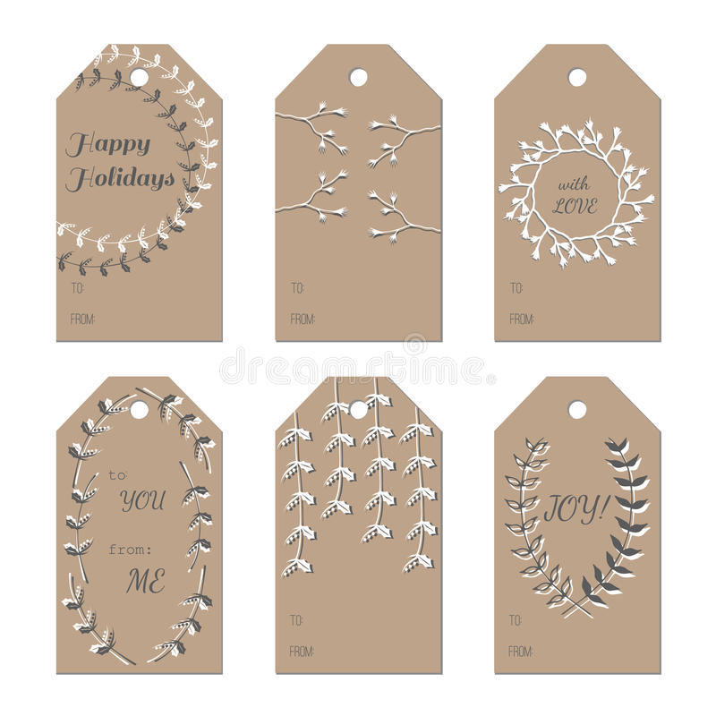 christmas new year holidays gift tags set stock vector