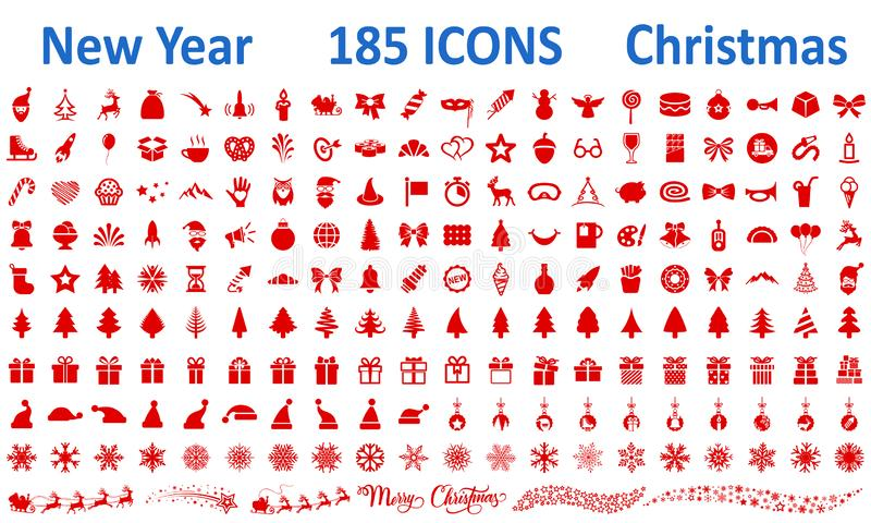 Christmas, New Year holidays icon big set in flat style collection – vector. Christmas, New Year holidays icon big set in flat style collection – royalty free illustration