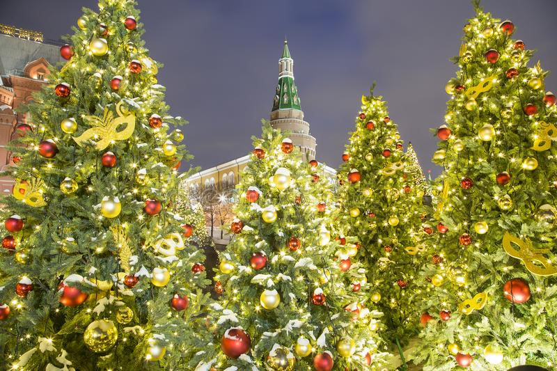 Christmas and New Year holidays illumination at night, Kremlin in Moscow, Russia. Christmas and New Year holidays illumination at night, Kremlin in Moscow stock images