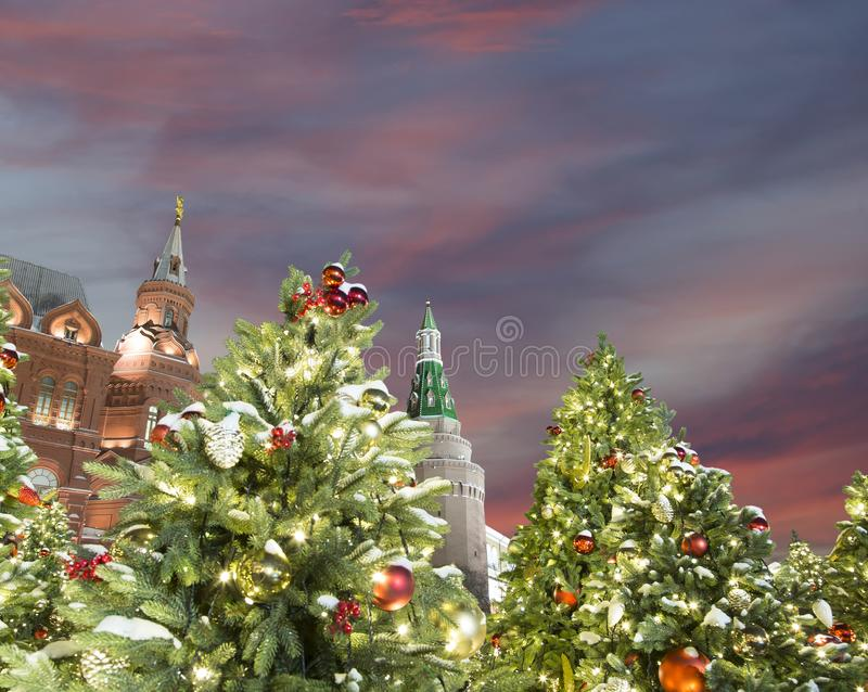 Christmas and New Year holidays illumination at night, Kremlin in Moscow, Russia.  royalty free stock photography
