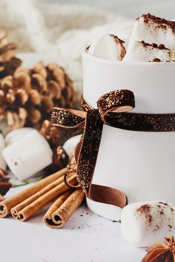 Winter Christmas New Year hot warming drink. Cup of hot chocolate or cocoa with marshmallow, fir cones, star anise, cinnamon on wh stock images