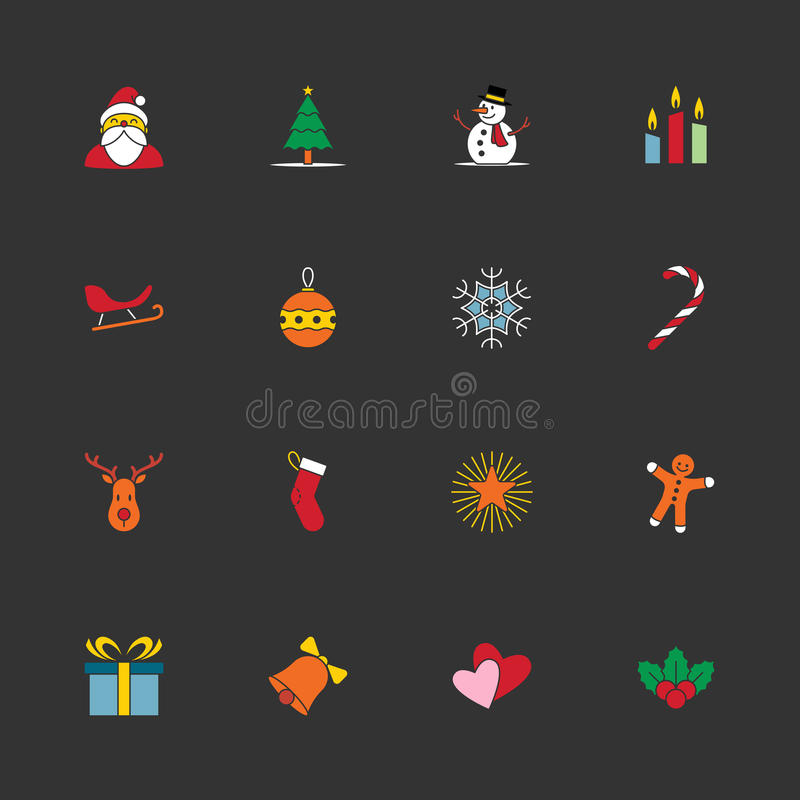 Christmas and new year icon set vector illustration