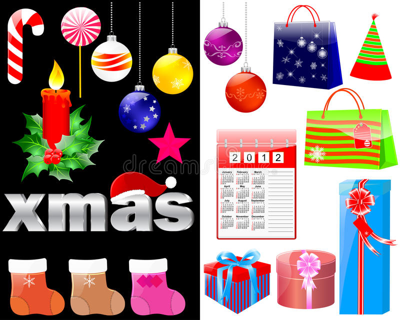 Download Christmas And New Year Icons. Stock Vector - Image: 22450549