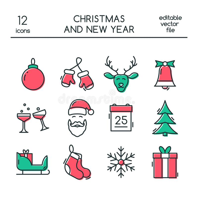 Christmas and New Year icons made in modern line style. royalty free illustration