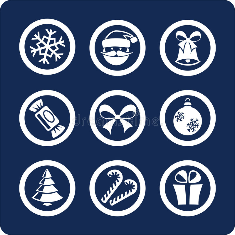 Christmas and New Year icons (set 1, part 1). Christmas and New Year 9 icons (set 1, part 1