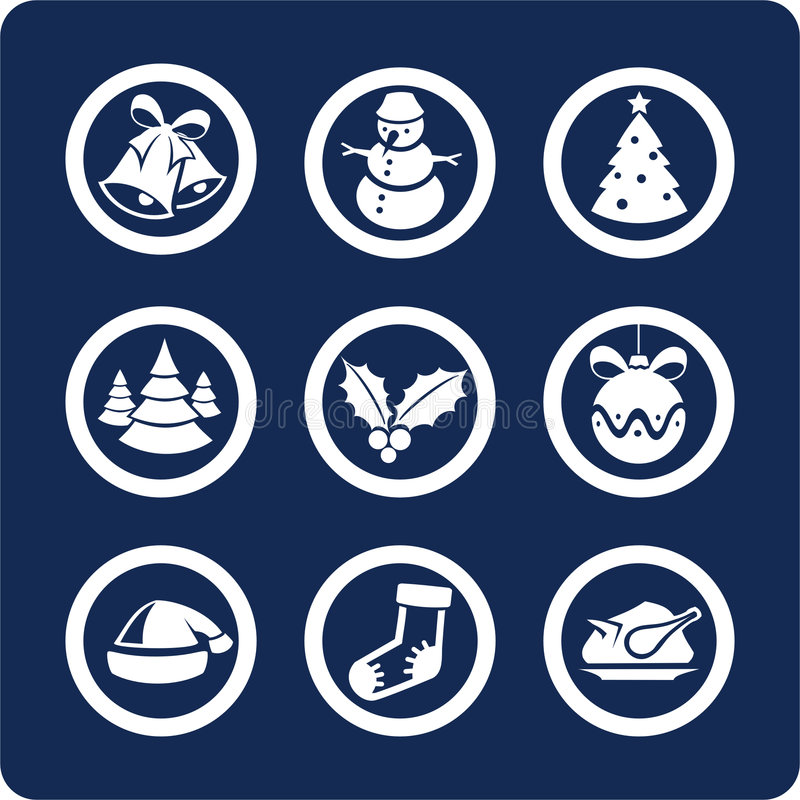 Christmas and New Year icons (set 1, part 2). Christmas and New Year 9 icons (set 1, part 2