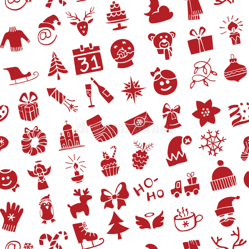 Christmas, New Year icons silhouette seamless vector illustration