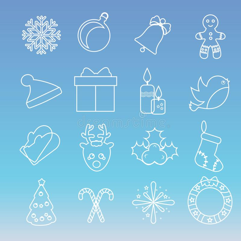 Christmas and new year icons. Vector set of winter holidays symbols. linear style royalty free illustration