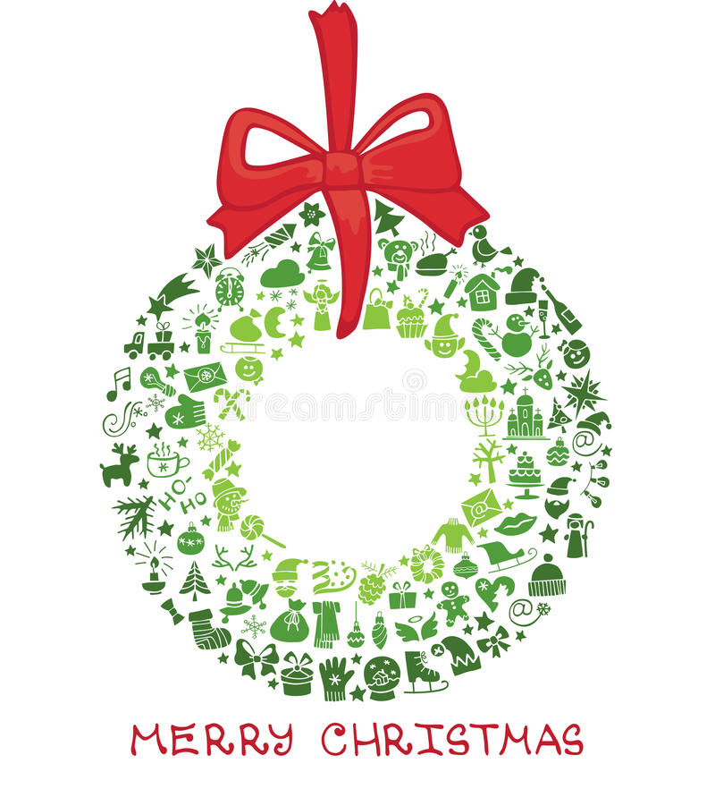 Christmas,new year icons in wreath shape,Doodles vector illustration