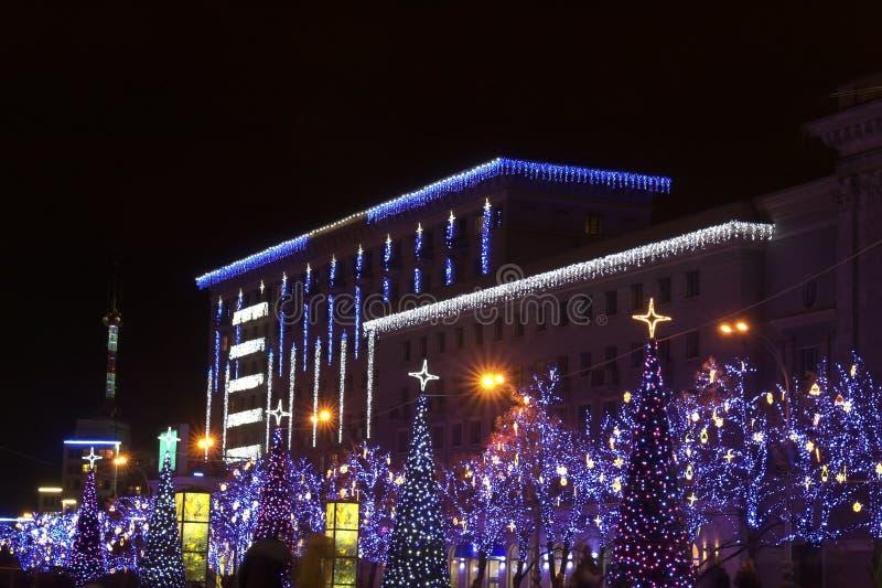 Christmas and New Year illumination. Night shot of Christmas and New Year illumination in big city stock photography