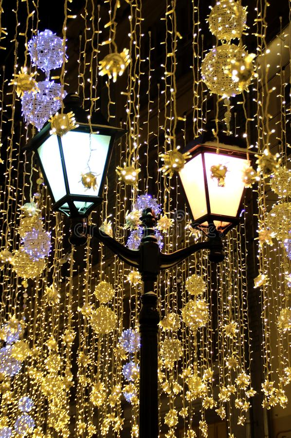 Christmas and New Year illumination in Moscow. Walk around Moscow in the days of the celebration of Christmas and New Year. Views of Moscow from attractions to royalty free stock photo