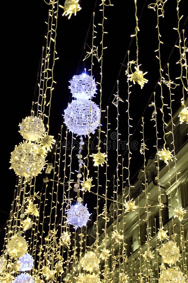Christmas and New Year illumination in Moscow. Walk around Moscow in the days of the celebration of Christmas and New Year. Views of Moscow from attractions to royalty free stock photography