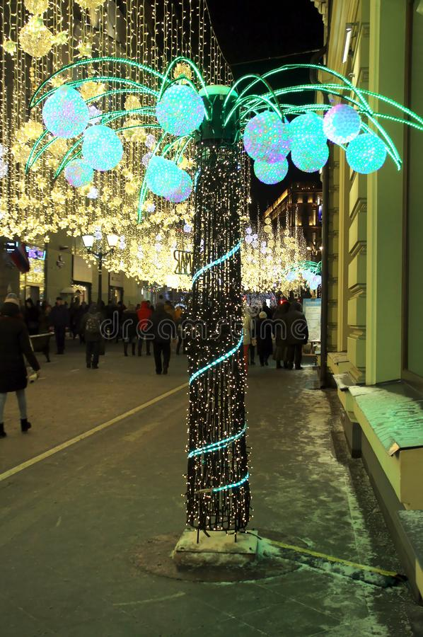 Christmas and New Year illumination in Moscow. Walk around Moscow in the days of the celebration of Christmas and New Year. Views of Moscow from attractions to stock photo