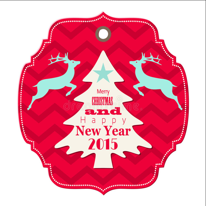 Christmas and new year 2015 label with reindeer royalty free illustration