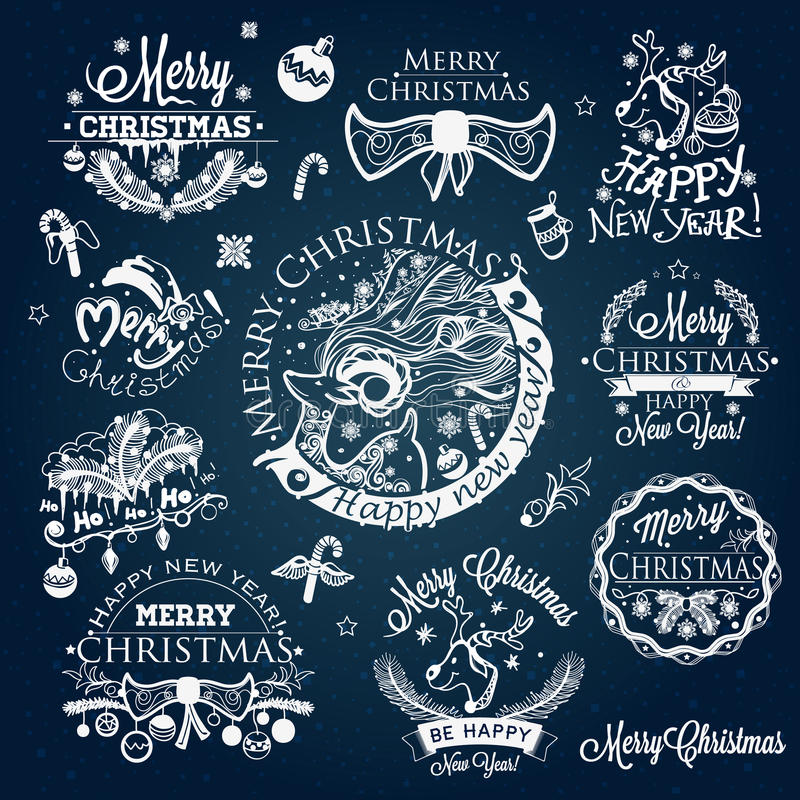 Christmas and New year labels, decoration set vector illustration