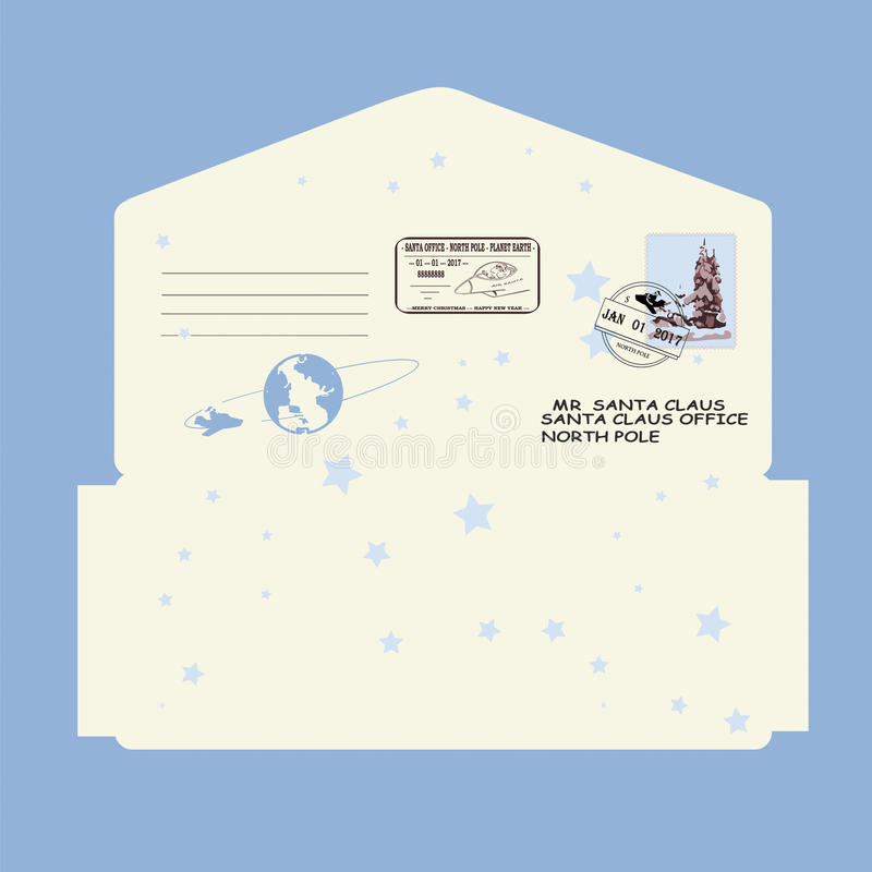 Christmas, new year. letter to Santa Claus. template, envelope, stamp. vector stock photo