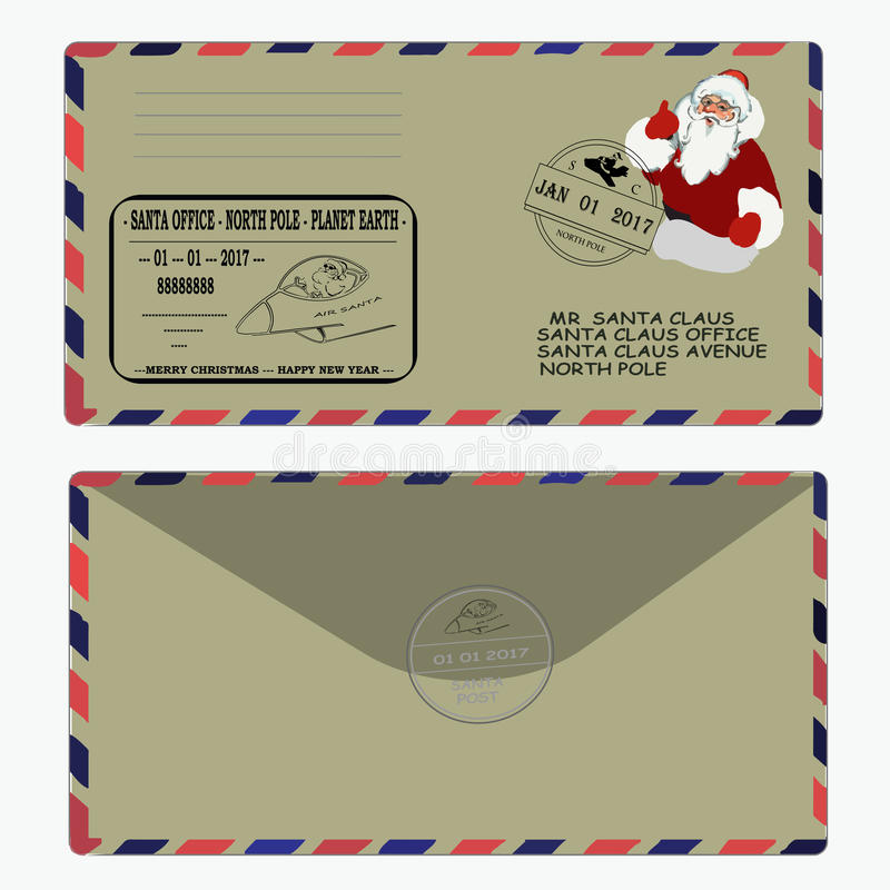 Christmas, new year. letter to Santa Claus. template, envelope, stamp. vector stock photography