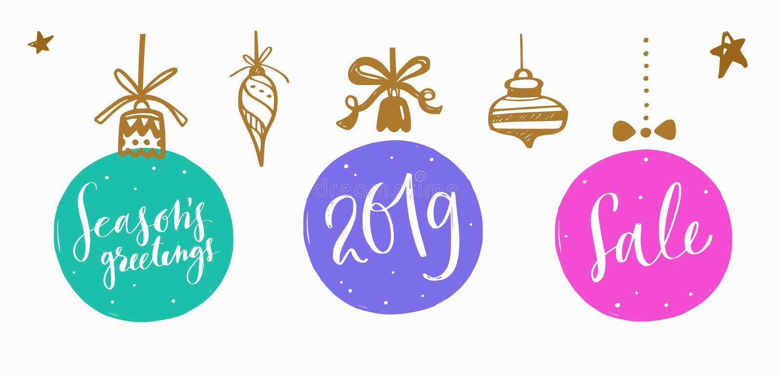 Christmas and New Year Lettering and Calligraphy phrases set 8. Christmas and New Year Lettering and Calligraphy phrases set. Christmas balls and toys decoration royalty free illustration