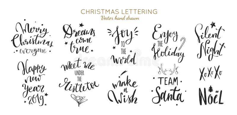 Christmas and New Year Lettering vector phrases. Christmas and New Year Lettering and Calligraphy phrases set. Vector handwritten modern Lettering stock illustration