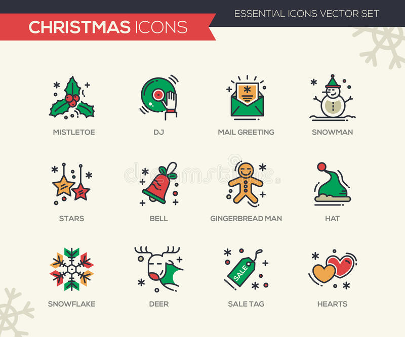 Christmas and new year line design icons set stock vector download christmas and new year line design icons set stock vector illustration of object m4hsunfo Image collections
