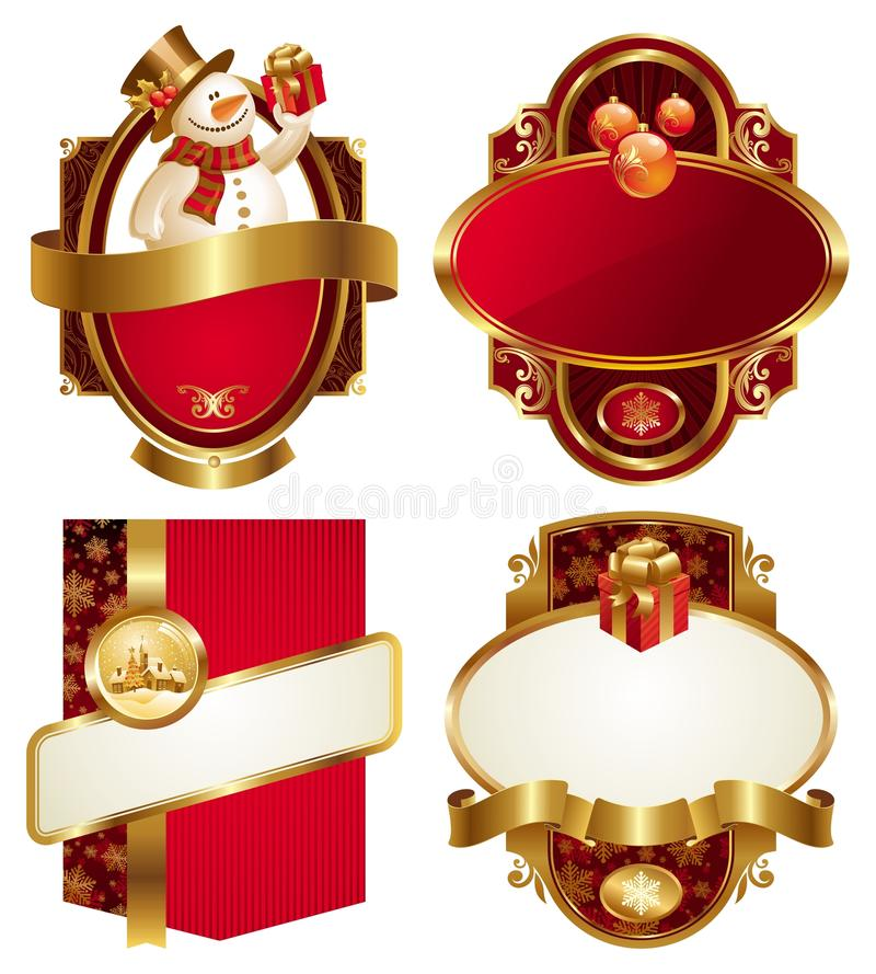 Christmas and new year luxury labels vector illustration