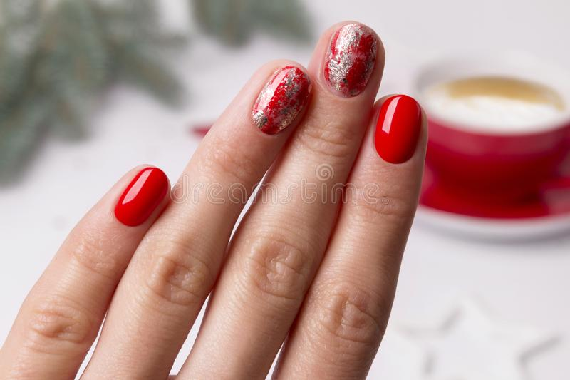 Christmas New Year manicure abstract nail design royalty free stock photos