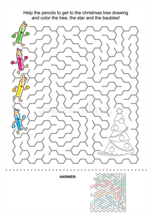Christmas or New Year maze game for kids royalty free illustration