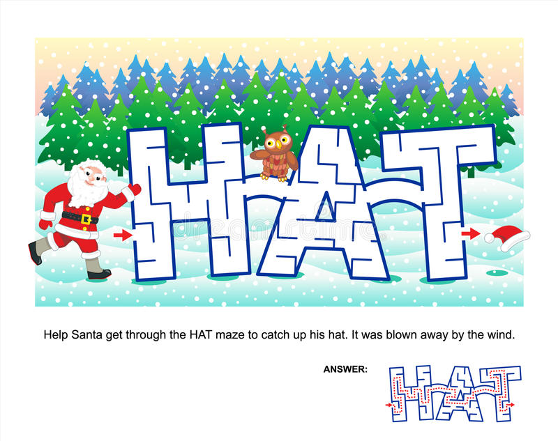 Christmas or New Year maze game for kids. Christmas or New Year themed word maze: Help Santa get through the HAT maze to catch up his hat. It was blown away by royalty free illustration