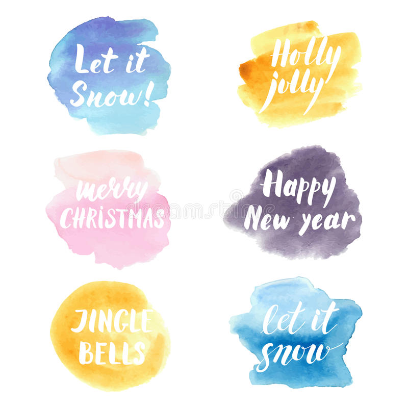 Christmas and new year modern lettering phrases set on watercolor splashes. vector illustration