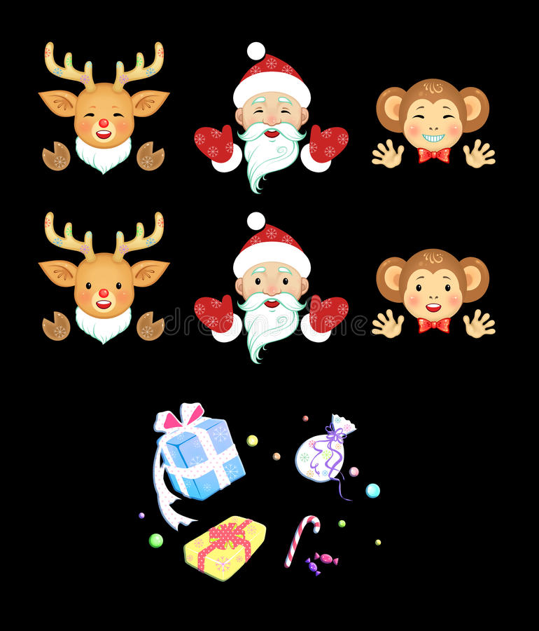 Christmas and New Year of the Monkey stock photos
