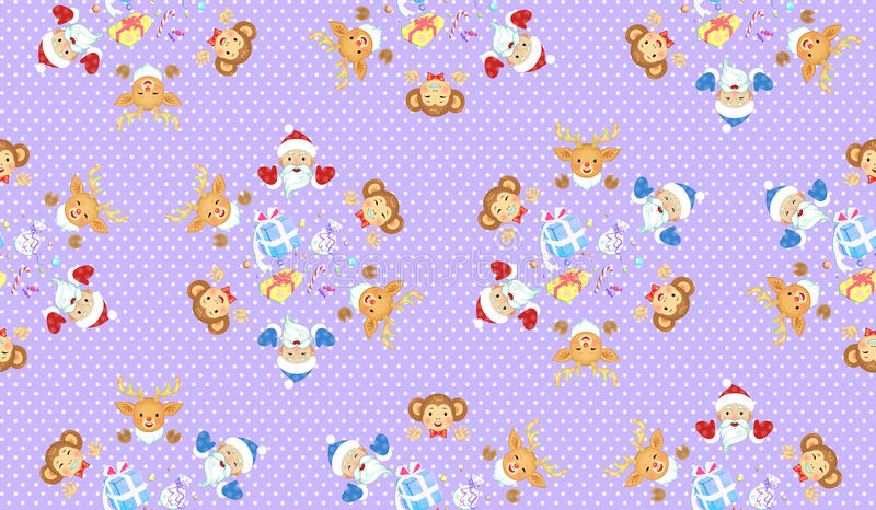 Christmas and New Year of the Monkey seamless pattern stock photo