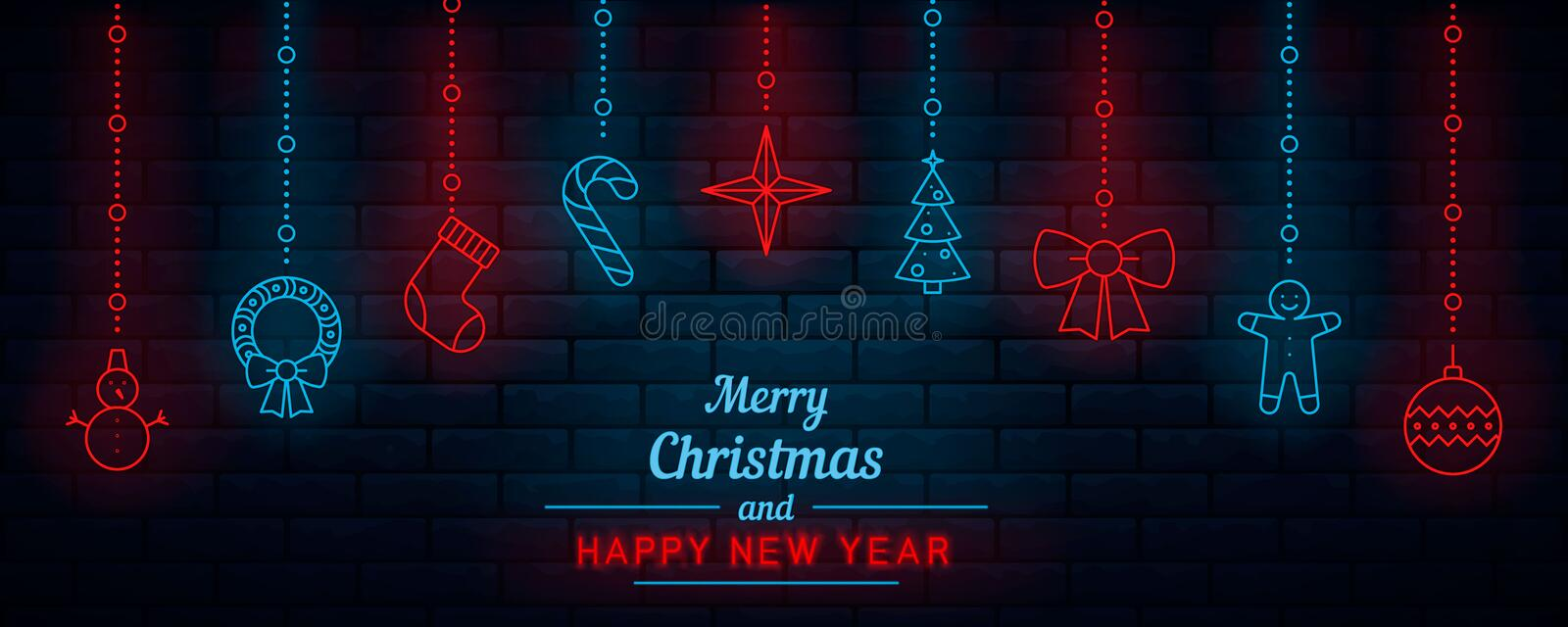 Christmas and New Year. Neon. royalty free illustration