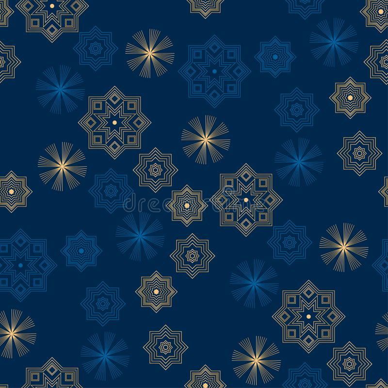 Christmas and new year night blue luxury decorative repeatable motif. Xmas elegant geometric snowflakes seamless pattern for stock illustration