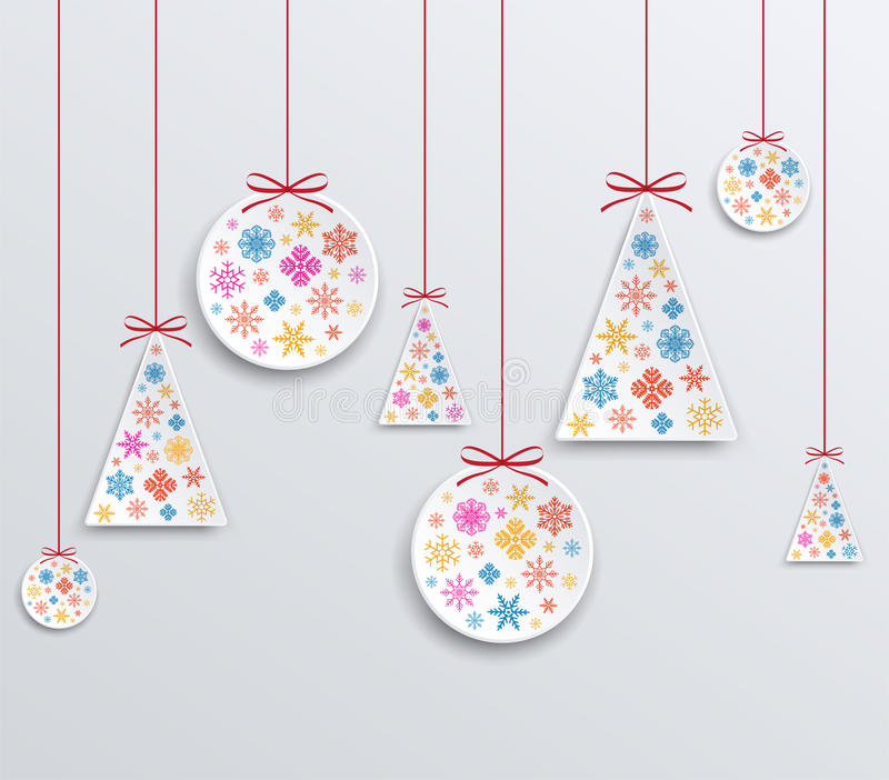 Christmas and New Year paper applique of snowflakes. vector illustration