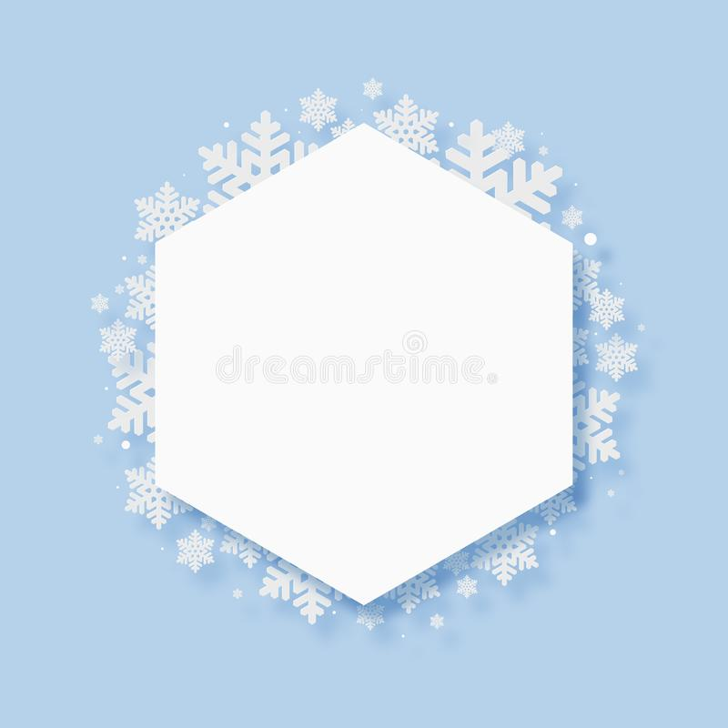 Christmas Paper Cutting Art Background. Christmas and New Year paper cutting art snow flake blue background stock illustration