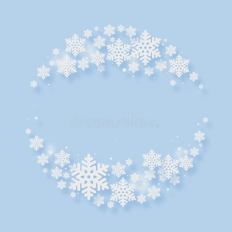 Christmas Paper Cutting Art Background. Christmas and New Year paper cutting art snow flake blue background royalty free illustration