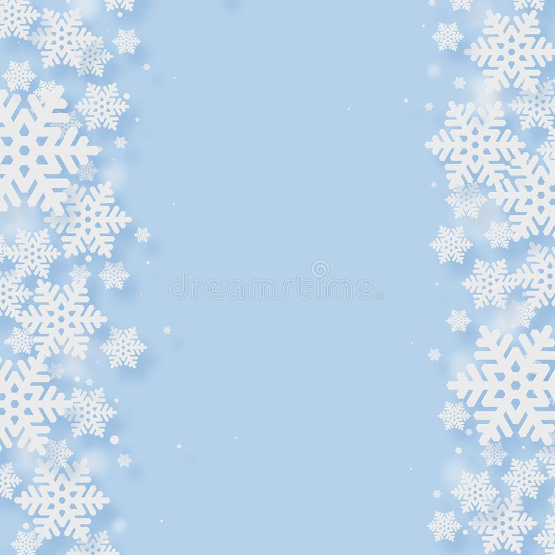Christmas Paper Cutting Art Background. Christmas and New Year paper cutting art snow flake blue background vector illustration