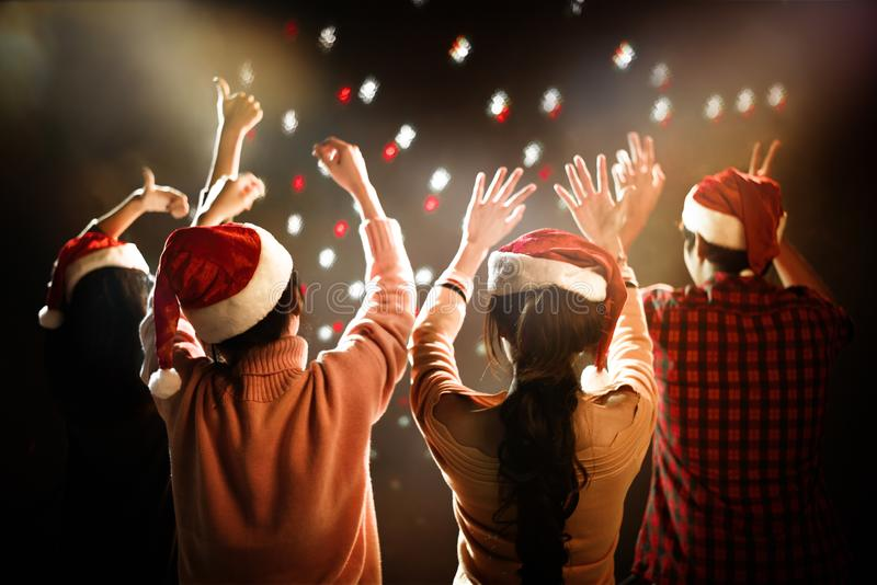 Christmas and New Year Party celebration. People and Holiday concept. Dancing and Celebrate theme royalty free stock photography