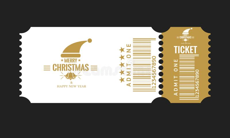 Christmas or New Year party ticket card design template. Vector Illustraton. White and golden color. Christmas or New Year party ticket card design template stock illustration