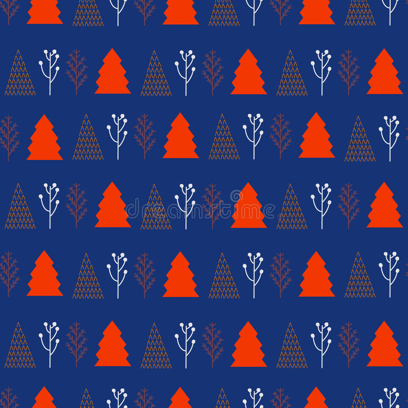 Christmas and New Year pattern stylish trendy colors. Christmas and New Year pattern with trees stylish trendy colors vector illustration