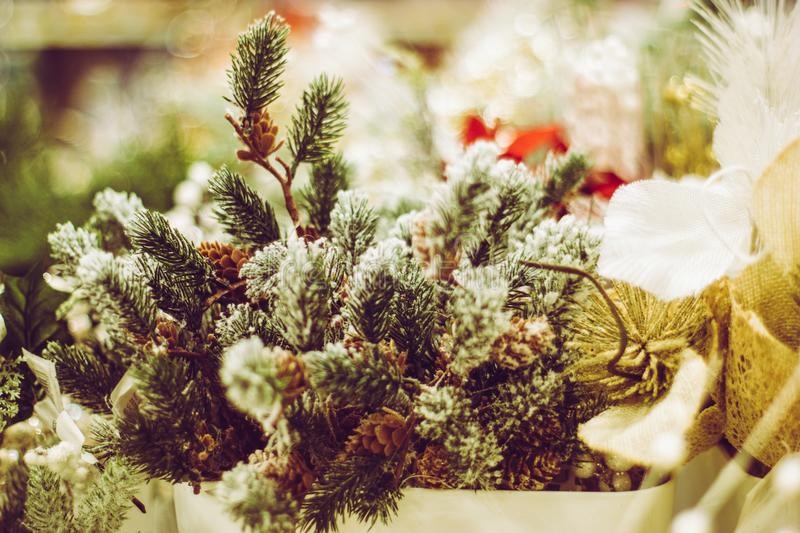 Christmas and New Year pine tree decoration close up royalty free stock images