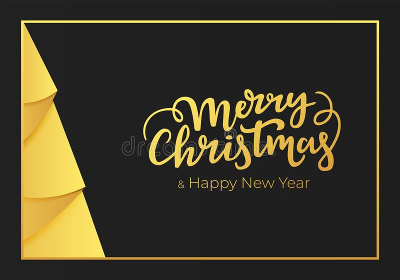 Christmas and New Year postcard. Winter holidays greeting card design made of a black paper background and decorations of a gold f. Oil royalty free illustration