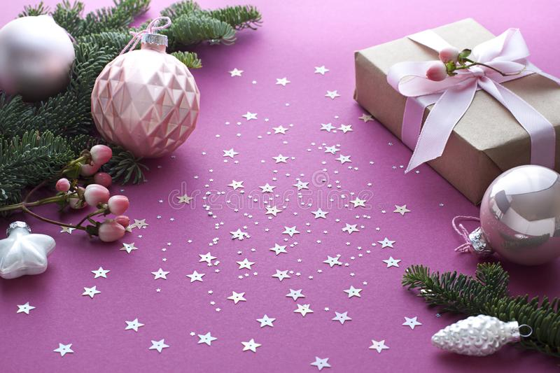 Christmas, New Year purple celebration concept close up. Winter holiday composition stock photo