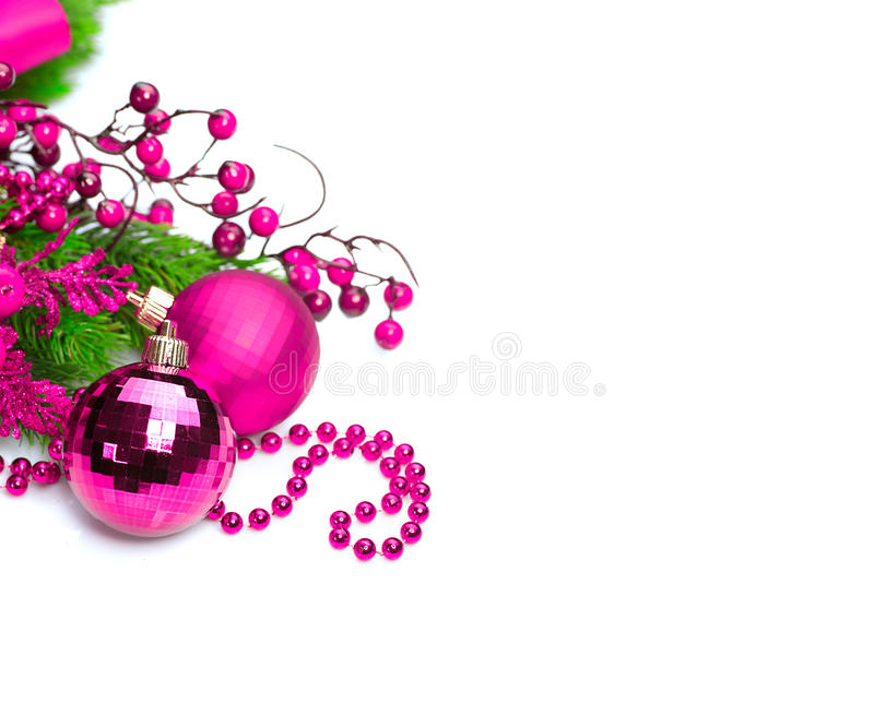 Christmas and New Year purple color decoration isolated on white background royalty free stock image