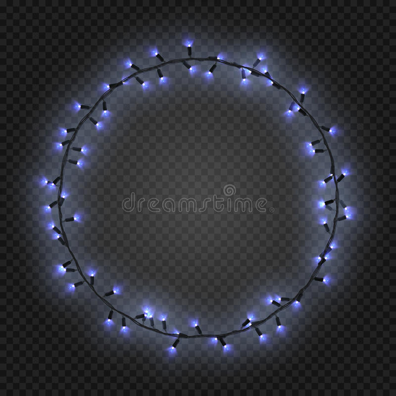Christmas and New year realistic light garlands like frame on a transparent background, vector. vector illustration