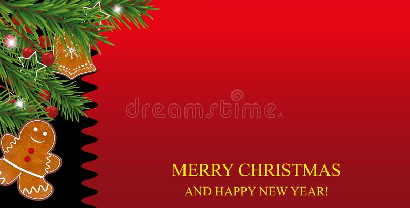 Christmas and New Year red background with Gingerbread cookies, Christmas tree branches and Holly berries for Xmas and New Year de. Sign. Vector illustration stock illustration