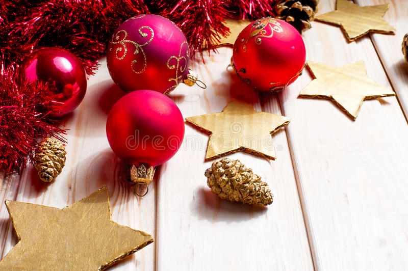 Christmas and New Year red balls decoration royalty free stock image