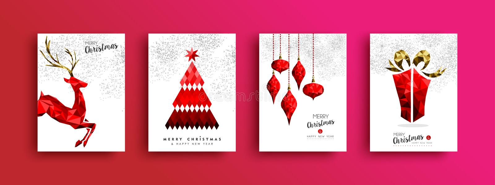 Christmas and New Year red low poly card set. Red Merry Christmas greeting card set. Xmas pine tree reindeer and gift box illustration in low poly style on sky royalty free illustration