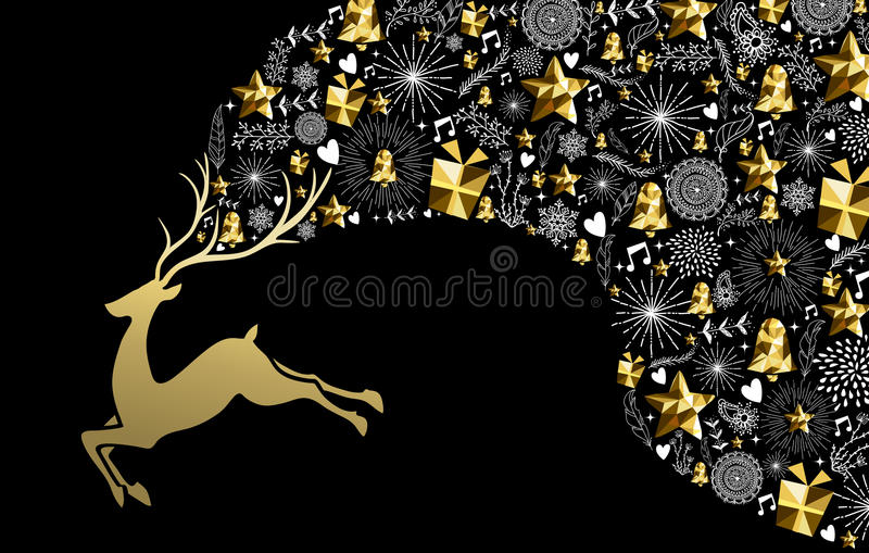 Christmas new year reindeer gold low poly holiday vector illustration