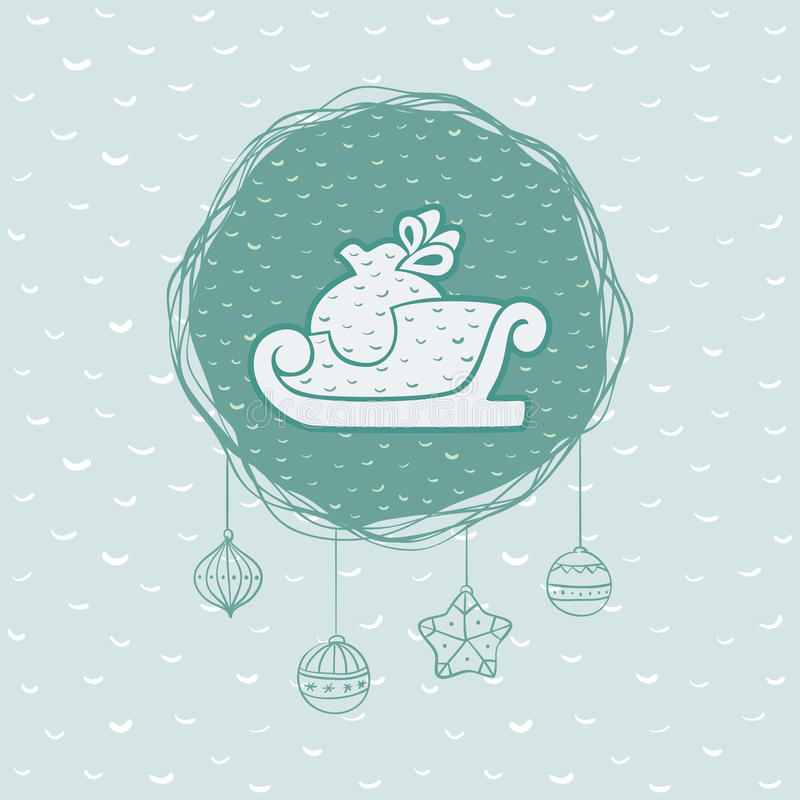 Christmas and New Year round frame with sled symbol. Greeting card. vector illustration